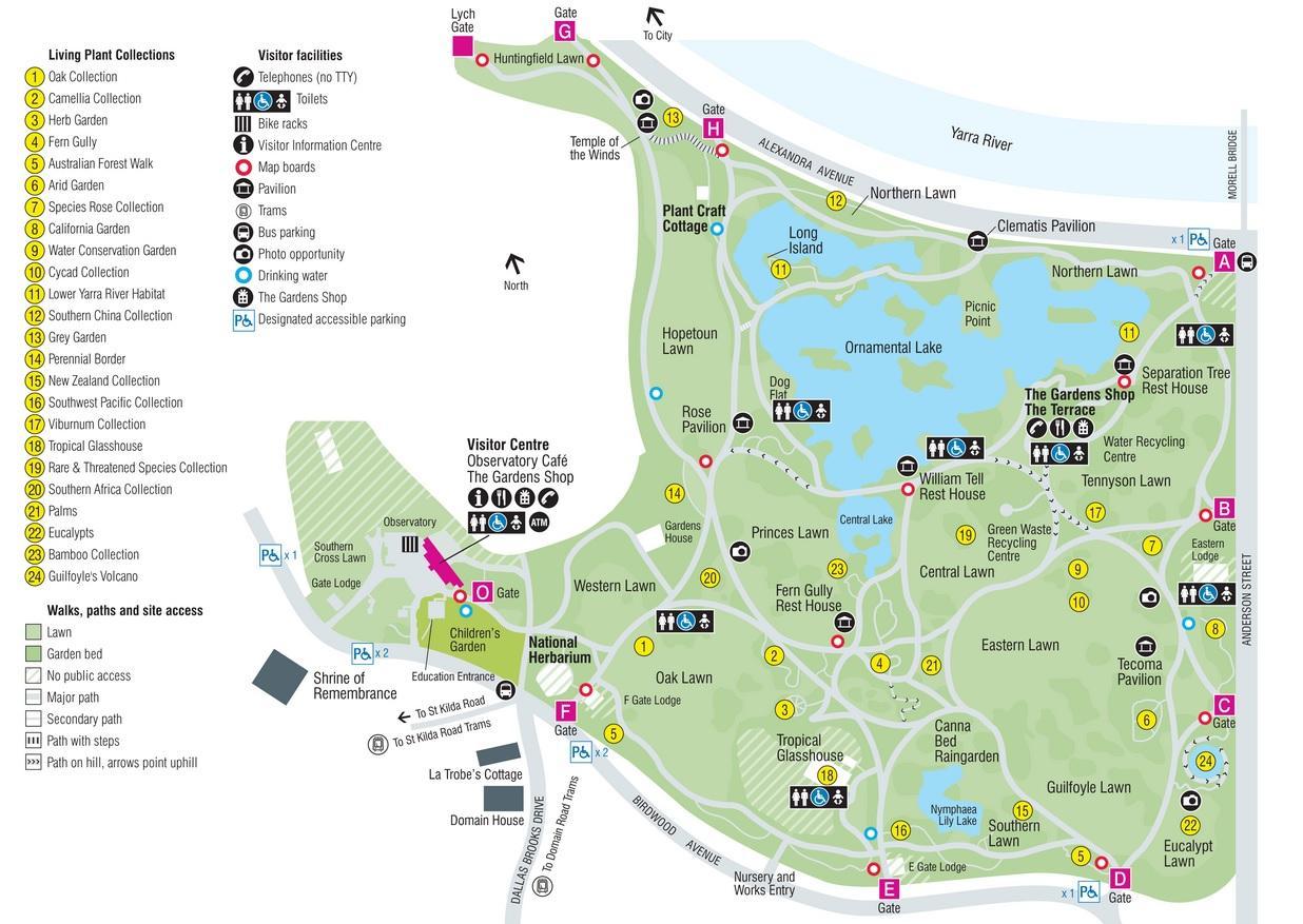 Melbournes Botaniske Have Kort Botaniske Have I Melbourne Kort