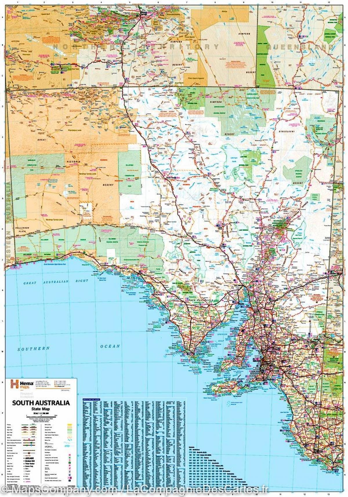 Kort South Australia Kort I Det Sydlige Australien Australien